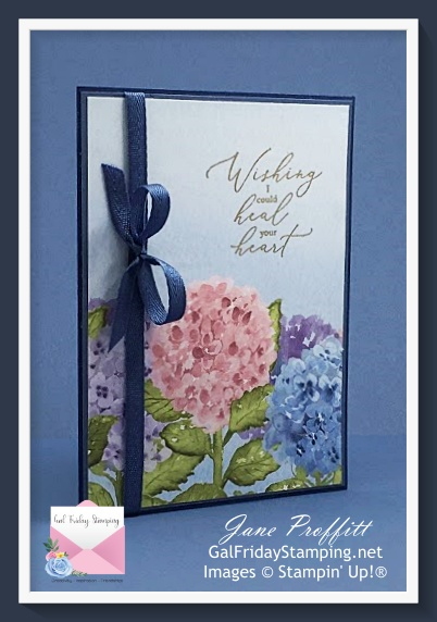 Create this clean and simple Sympathy card using the beautiful Hydrangea Hill designer series paper.