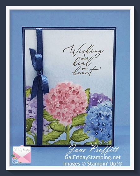 Clean and simple card using the Hydrangea Hill designer series paper and an gold embossed sentiment