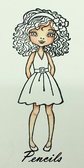 Coloring with Gal Friday using pencils to color skin.  This image is from Hey Girlfriend from Stampin' Up!
