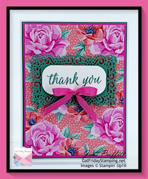 Not only did I use the Flowers for Every Season designer series paper, I used the Ornate frames dies.