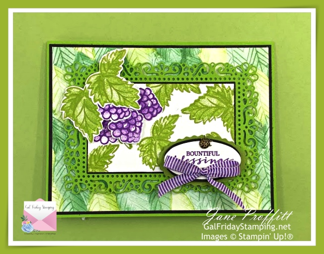 Green with envy, bountiful blessings card created with the Berry Blessings set from Sale-a-Bration.
