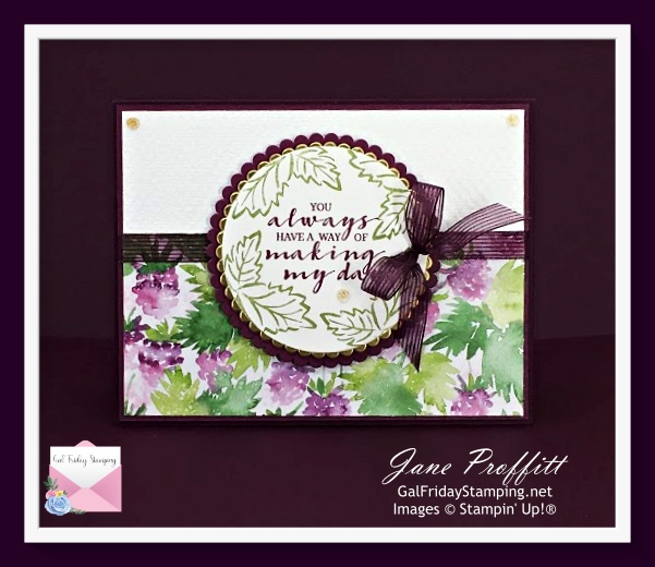 Say it with a sentiment and beautiful designer series paper.  Berry Blessings from Stampin' Up!