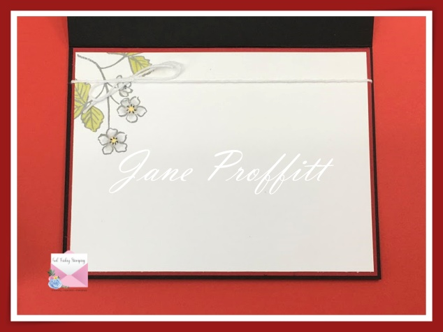 Don't forget the inside of the card.  This card focuses on the stamp set  Sweet Strawberry Coordinates with Berry Blessings