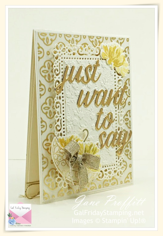 Very Vanilla and Gold was used to create this beautiful card using the Fine Art Floral Suite by Stampin' Up!