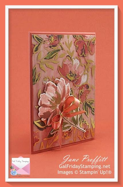 Art Gallery bundle, golden garden specialty acetate, flirty flamingo and calypso coral card stock create a beautiful combination.