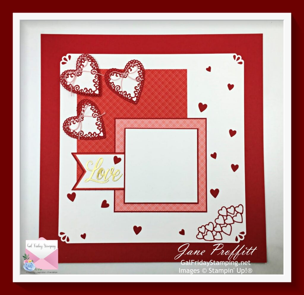 Scrapbook page for Valentine's Day.  Using the Meant to Be stamp set and matching dies from Stampin' Up!