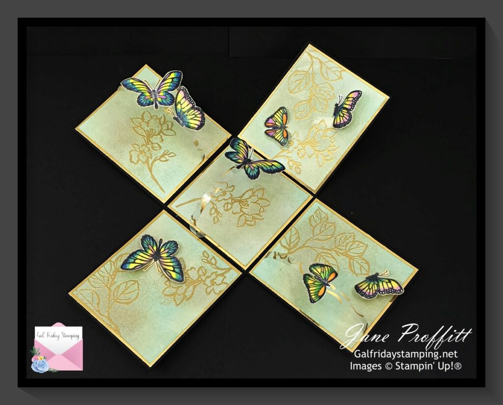 Fluttering and Floating stamp set was used to fill the inside of the explosion box.  Butterflies were colored with Stampin' Blends.