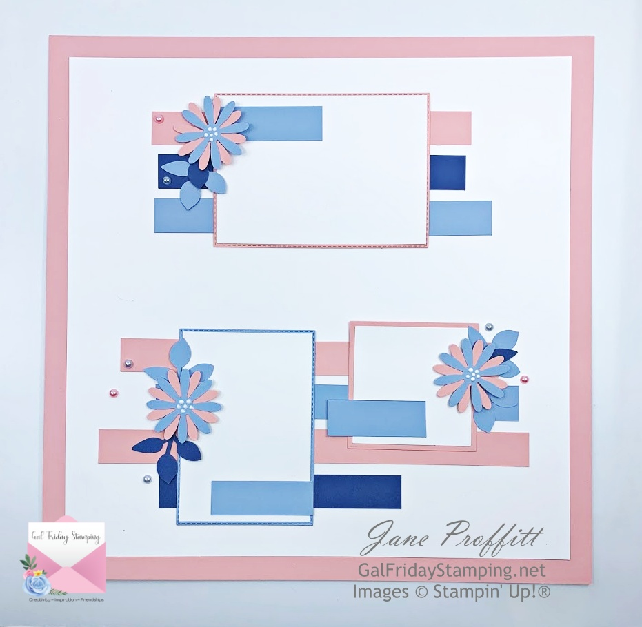Lot's of strips and scraps were used in creating this scrapbook page.  Seaside Spray, Blushing Bride and Basic White card stock were also used.