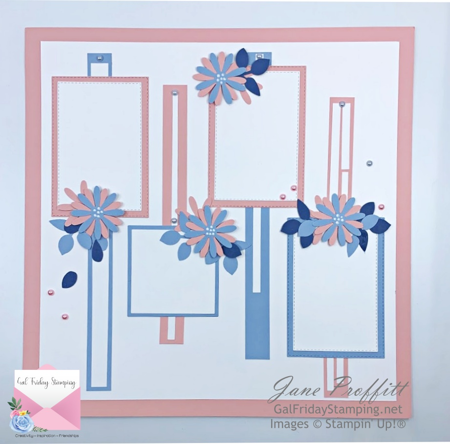 Continuing on with the same colors of Basic White, Seaside Spray and Blushing Bride here is the matching Scrapbook page.