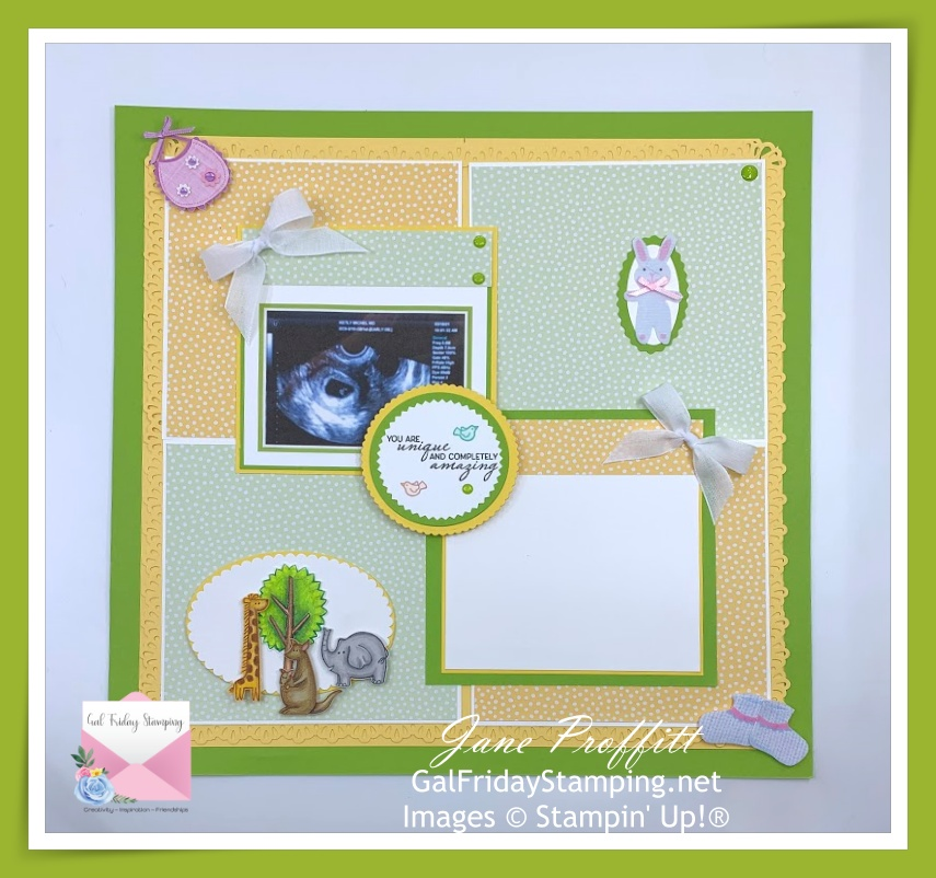 Sunday's scrapbook page celebrating an upcoming birth