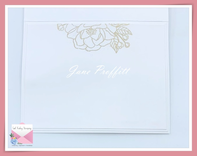 I did not forget the inside of the card.  I embossed the flower at the top of the inside.