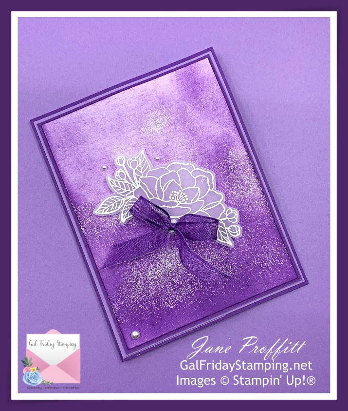 So Much Love stamp set, embossing and vellum on layers of beautiful purples.
