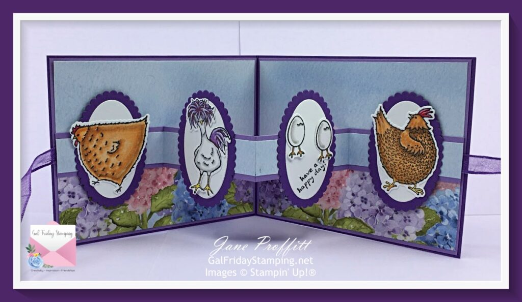 Hey Chick images from the bundle is the focus on the inside of the card.  Images are adhered to Layering Ovals from Stampin' Up!