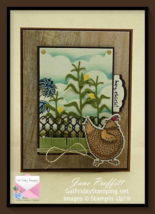 Some Hey Chick fun with the stamp bundle from Stampin' Up!  They are back at the funny farm wishing you a happy day.