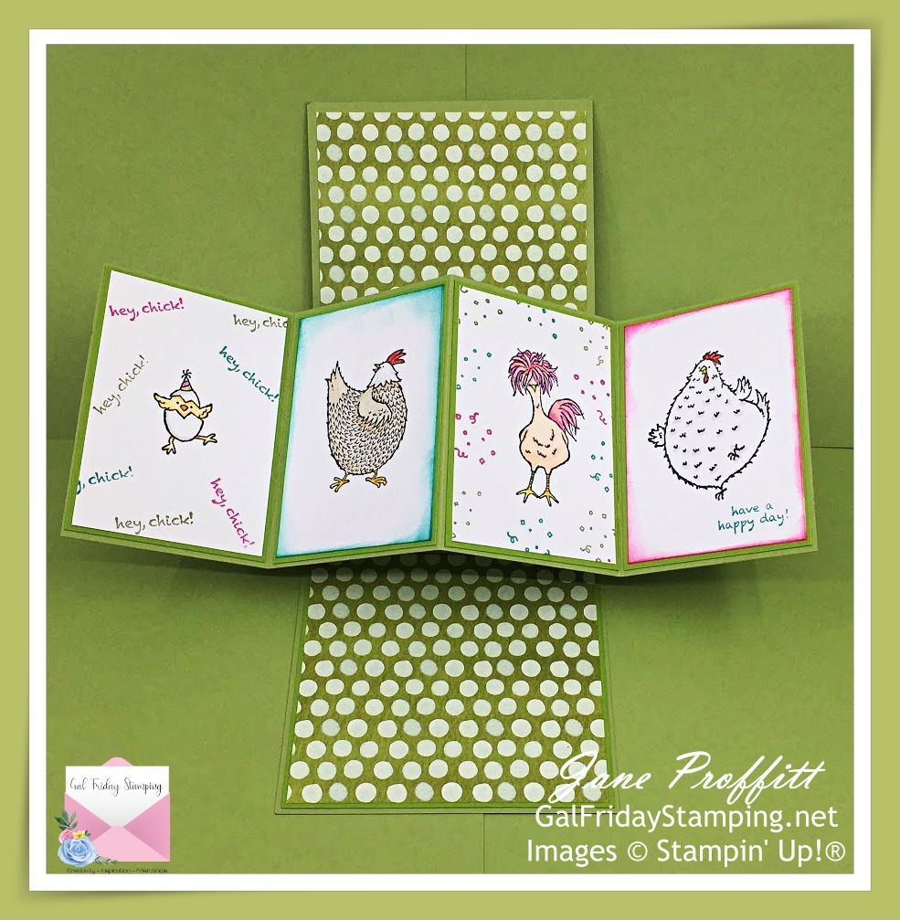 This twist and pop card is celebrating your birthday today.  Chicks are from Happy Birthday Chick and Hey Chick from Stampin' Up!