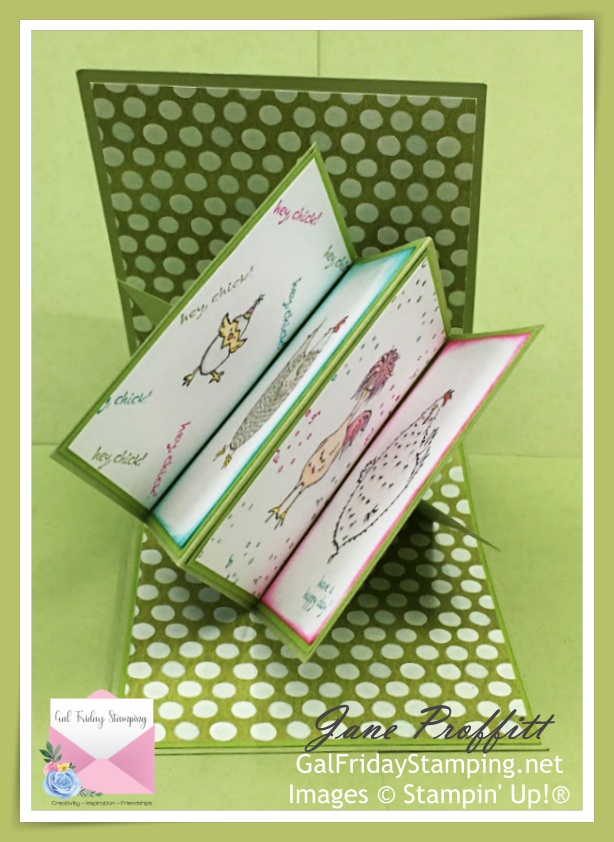 Twist and pop card using Hey Chick.  With a card like this there is a surprise inside.