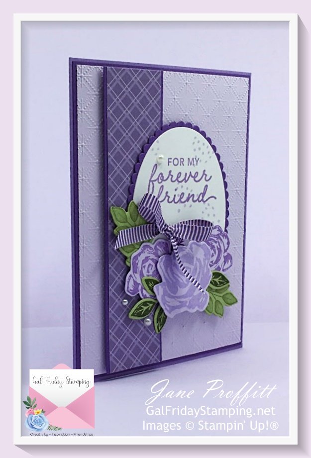 Brushed Bloom stamp bundle card using one of the Retiring 2019-2021 In-Color Purple Posy