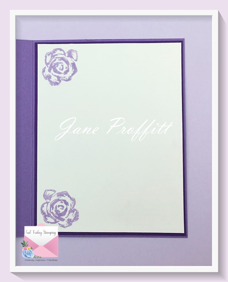 Don't forget the inside.  I pulled in the flower from the Brushed Bloom bundle and stamped it with Highland Heather.