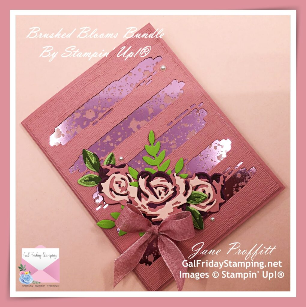 Close up of the Brushed Blooms bundle with the retiring In-Color Rococo Rose card stock.