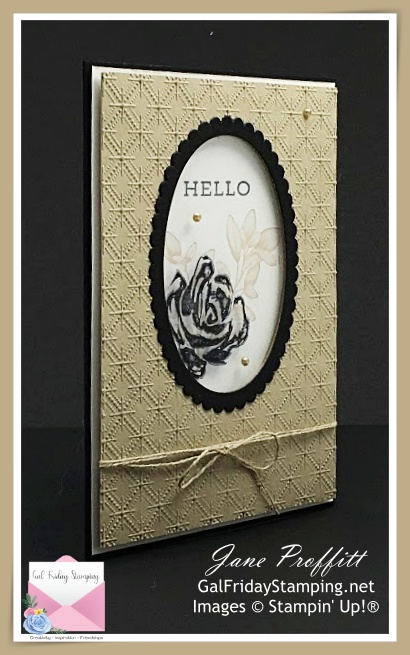 Brushed Blooms Simple Saturday card in basic black, basic white and crumb cake.  Neutral colors to say hello.