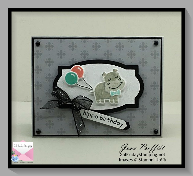 Hippo Happiness Bundle from Stampin' Up!  This is a 3 step stamped image.