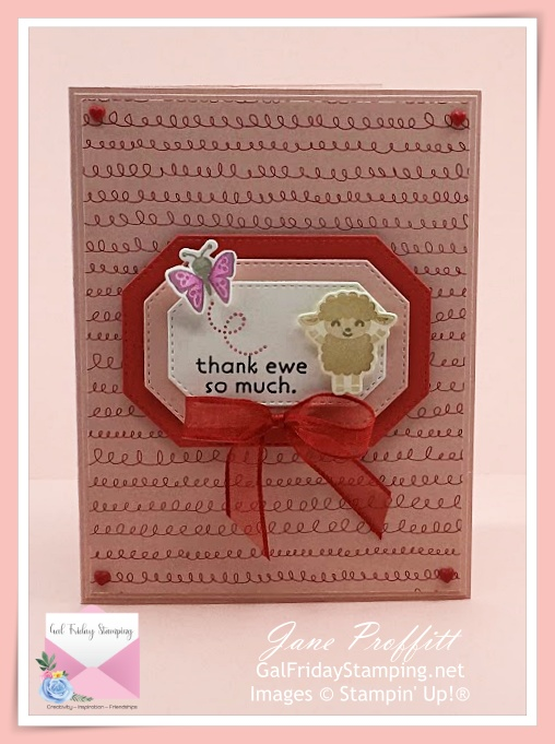 """A sweet little lamb on the front of a """"thank ewe so much"""" card using the Hippo Happiness stamp bundle from Stampin' Up!"""