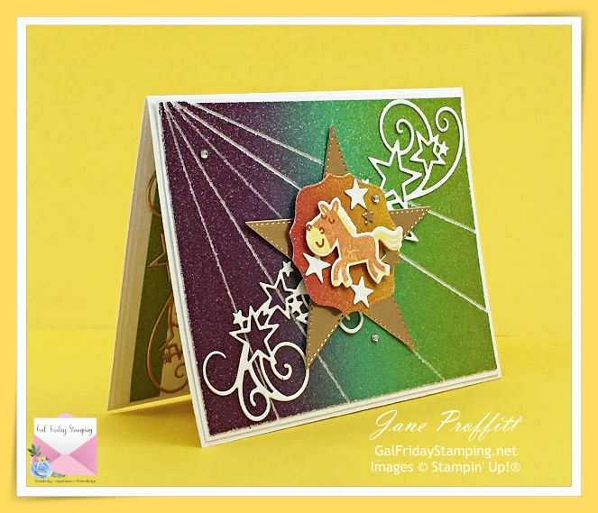 Rainbow Glimmer paper and Hippo Happiness was used for today's when in doubt, be a unicorn card.