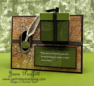 This card contains a gift box using the Retiring World of Good suite from Stampin' Up!