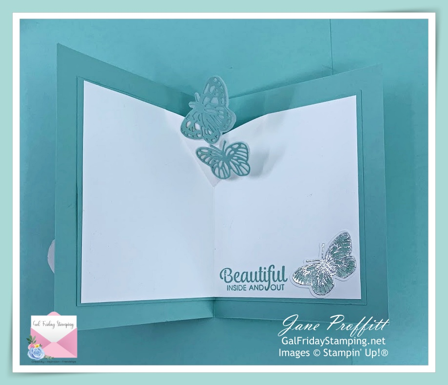 Fluttering butterflies adhered to an extra fold, using the Butterfly Brilliance bundle.