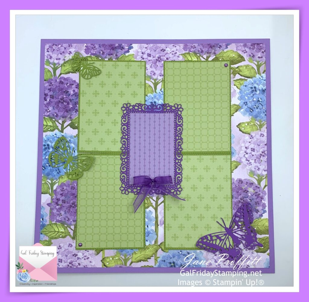 Hydrangea Hill scrapbook page.  Using Gorgeous Grape, Highland Heather and Old Olive.