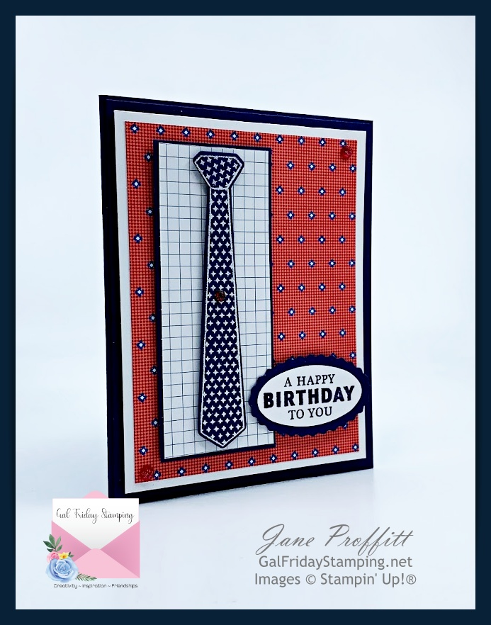Well Suited bundle has awesome stamps too as shown in today's card.