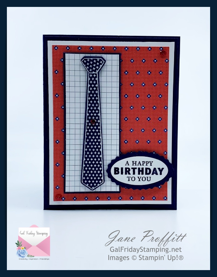 Perfect masculine Birthday card using the Well Suited bundle.