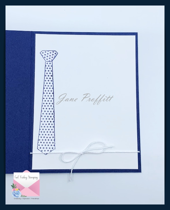 Don't forget the inside of the card.  I just stamped the tie in Night of Navy