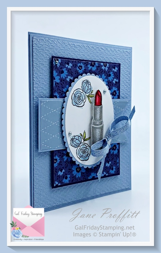 Be as bold as your lipstick using the Dressed to Impress bundle.  Lipstick colored with colored pencils and Stampin' Blends.