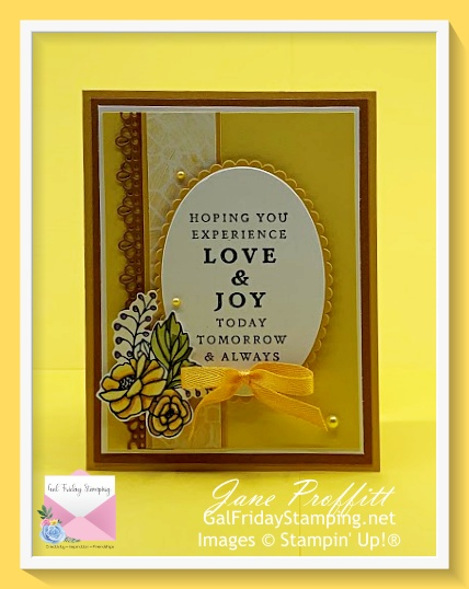 Last a Lifetime stamp set using Bumblebee, Cinnamon Cider and Daffodil Delight