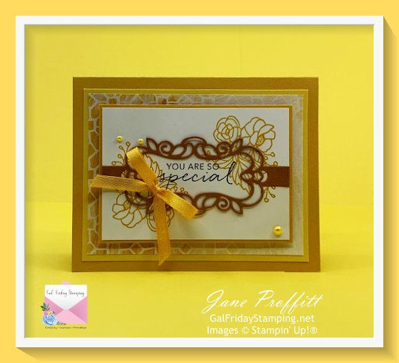 This card was created with the same elements as the first card but uses the sentiment from the Tasteful Touches stamp set.