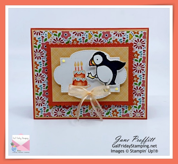 Such a sweet Party Puffins birthday card.
