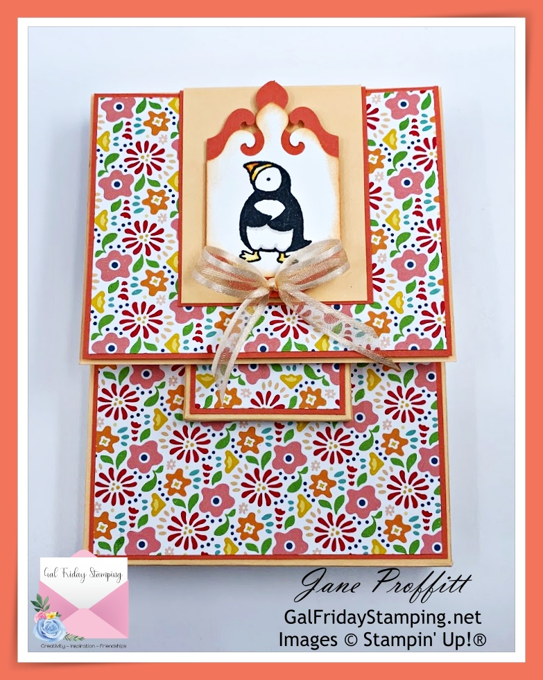 Gift and greeting card holder being created during Thursday Night Live with the Party Puffins stamp set.