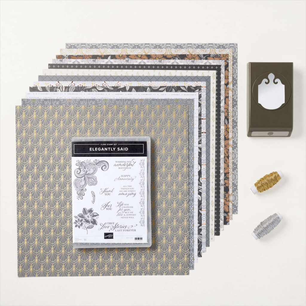 Simply Elegant Suite from Stampin' Up!  with beautiful designer series paper and an elegant stamp set to create beauty and elegance.