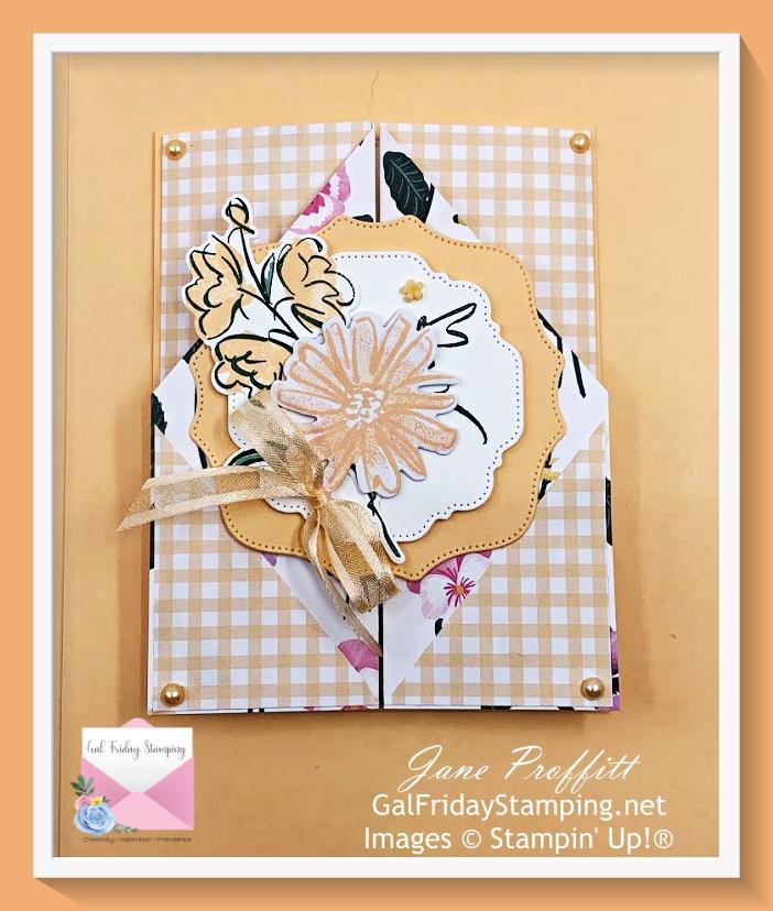Pale Papaya, Pansy Petals and Color & Contour fun fold card.