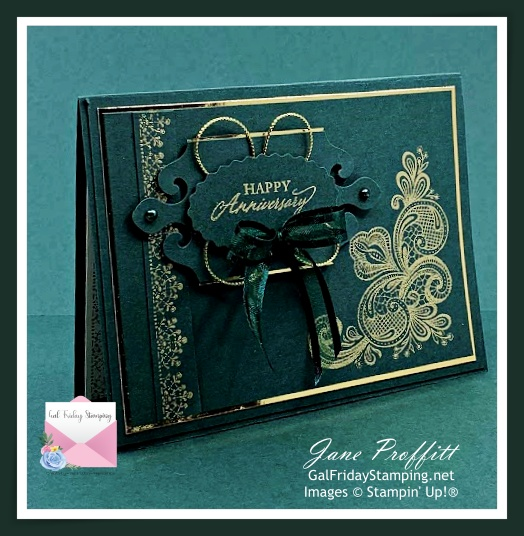 Simply elegant card in Evening Evergreen the New In Color from Stampin' Up!