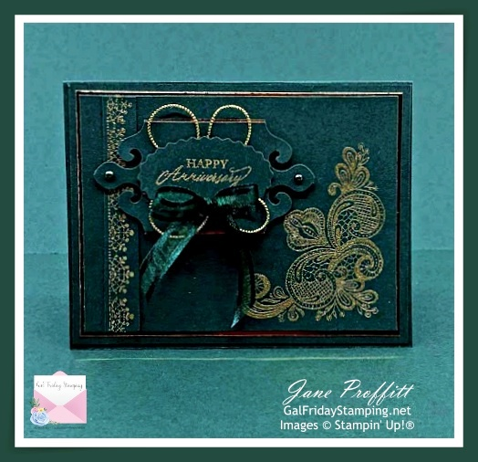 Evening Evergreen and Gold are the focus of today's card using the Simply Elegant suite from Stampin' Up!