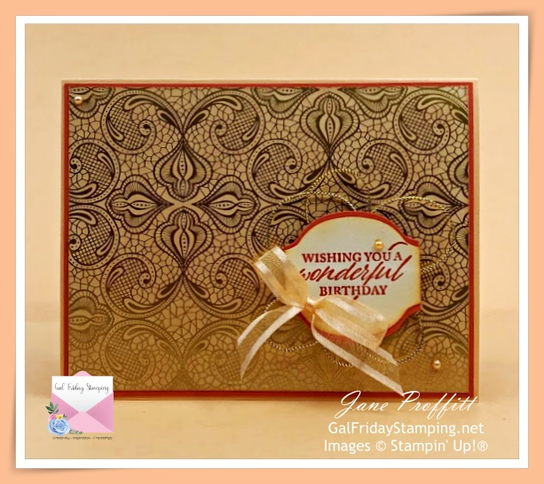 Beautiful designer series paper blended with Pale Papaya is the highlight of today's card.