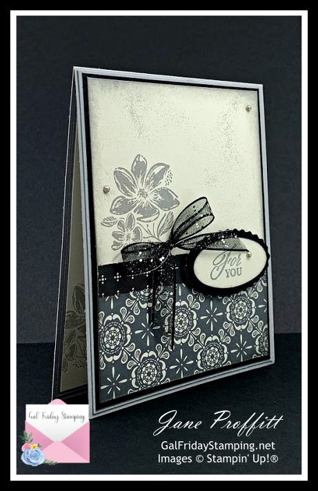 Simply Elegant Suite in black, gray and very vanilla for this weeks newsletter card.