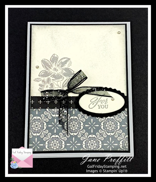 This weeks newsletter card sprinkled with silver emboss powder to add some sparkle.