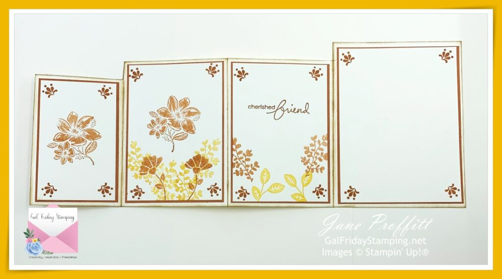 Four panel card laying so you can see the inside