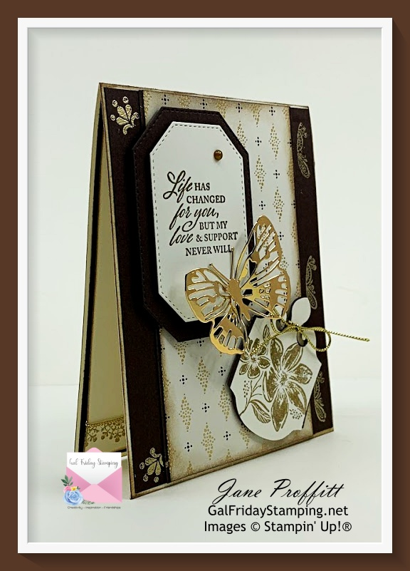 Today I have created a Simply Elegant suite Life Changes card in very vanilla, early espresso and beautiful designer series paper.