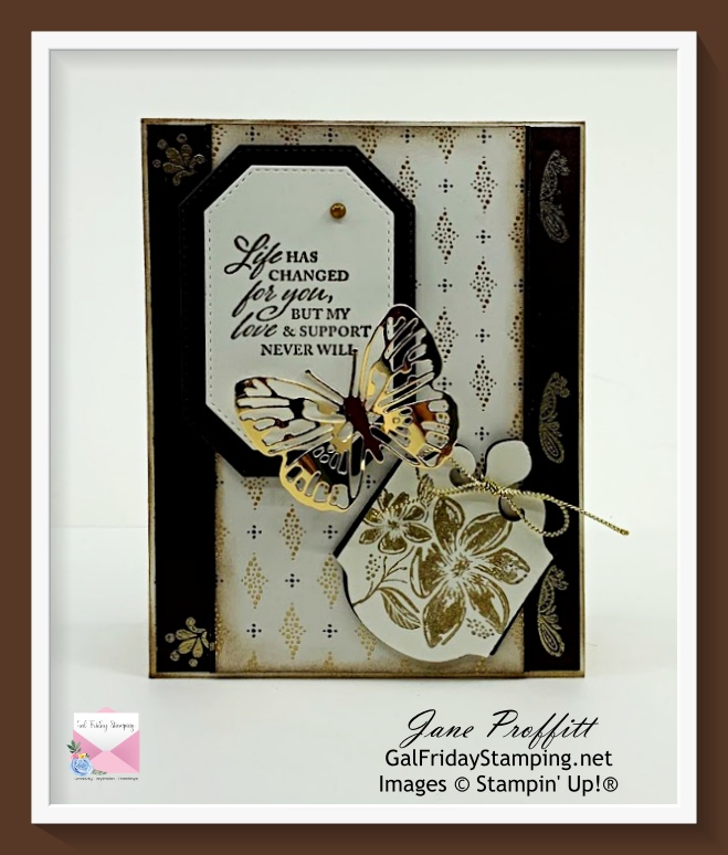 Life changes with the Simply Elegant Suite.  Beautiful neutral card with little stamping.