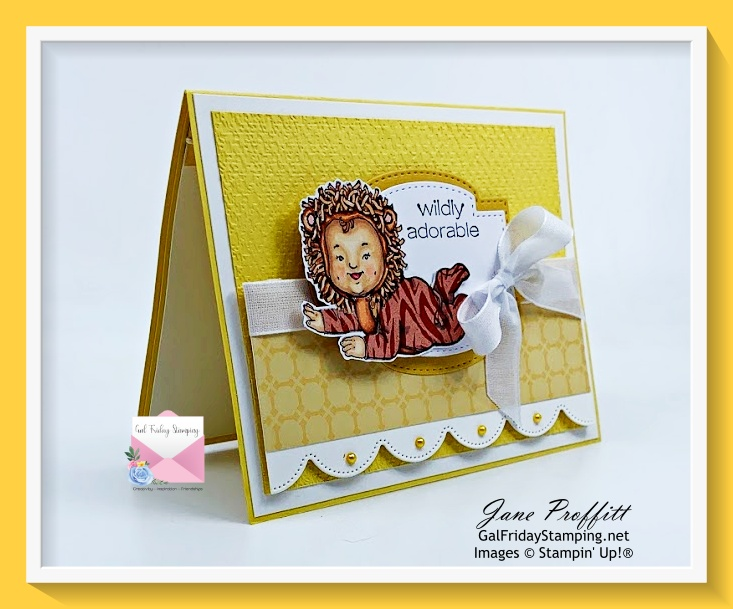 How cute is this little one from the Wildly Adorable Stamp set from Stampin' Up!  Image is colored with Copics and paper pieced.