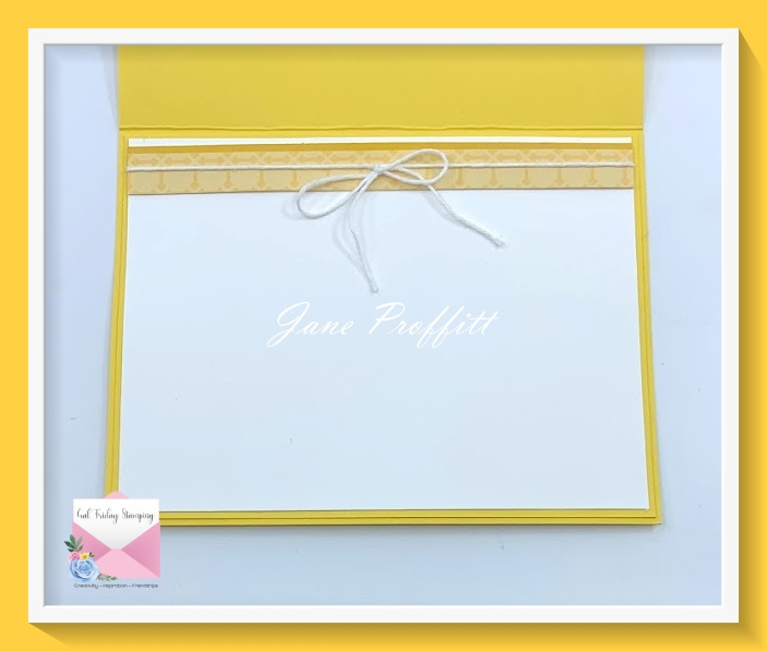Don't forget the inside of your card.  Pull any element you want from the front of your card to create a beauty inside and out.